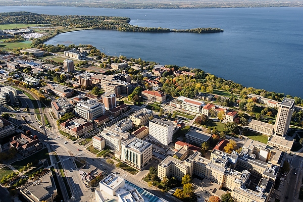 aerial photo of UW campus